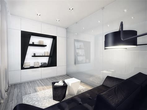and white living room futuristic black and white apartment