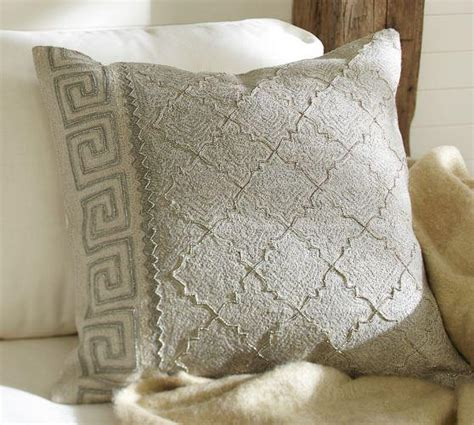 Gray Greek Key Embroidered Pillow Cover