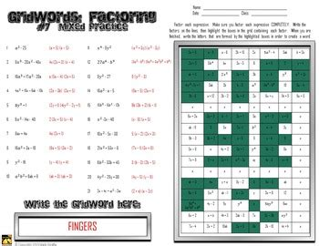 factoring polynomials gridwords  mixed practice