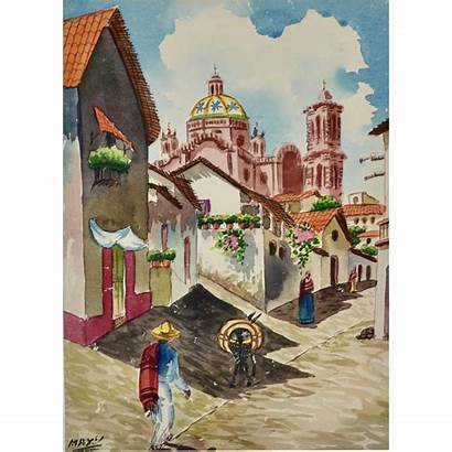Village Watercolor Painting Signed Mexican Burro Couture