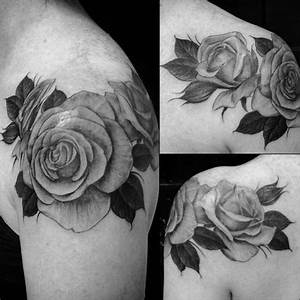 Realistic Rose Tattoo Black And White 46178 Loadtve