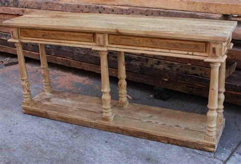 hand crafted reclaimed wood console table  turned legs  mortise tenon custom furniture