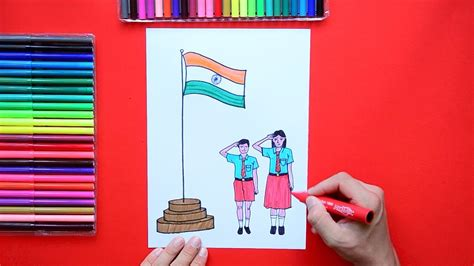 draw independence day flag hoisting  school youtube