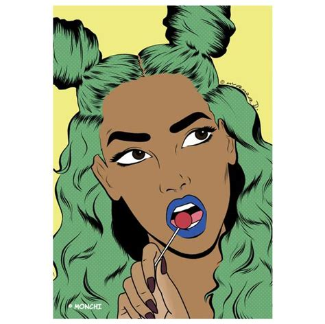 Girl With Pastel Green Hair And Lollipop Pop Art Poster Print