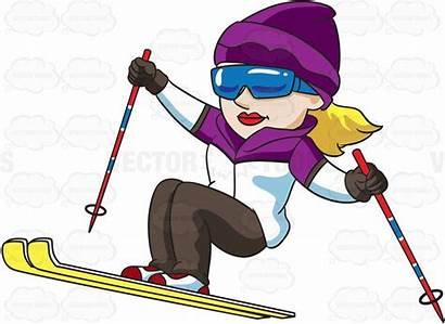 Skier Female Ski Cartoon Clipart Jumping Trail