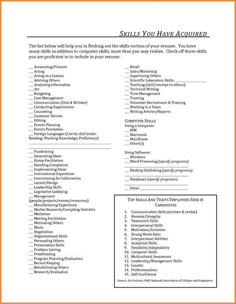 Additional Skills Resume by Retail Resume Skills List Resume Ideas