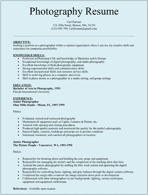 fashion photographer resume sle with senior photography