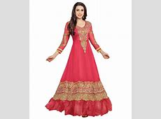 Party Wear Dresses Red Faux Georgette Unstitched Dress
