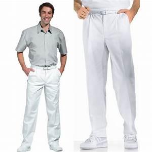 Pantalon A Pince Homme : pantalon blanc homme pinces taille lastique au dos ~ Melissatoandfro.com Idées de Décoration
