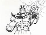 Thanos Infinity Coloring Gauntlet Pages War Avengers Fist Drawing Marvel Adams Lineart Neal Power Printable Print Comics 1980s Related sketch template