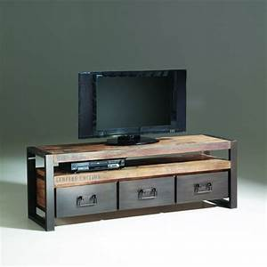 Meuble Tv Industriel Bois Metal : personnalisez votre salon avec le meuble tv industriel ~ Teatrodelosmanantiales.com Idées de Décoration