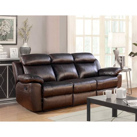 abbyson living leather sofa abbyson living brody top grain leather reclining sofa in