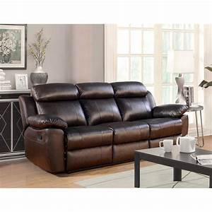 Abbyson Brody Top Grain Leather Reclining Sofa In Brown