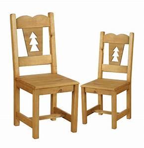 Chaise En Pin : chaise rustique en pin avec sapin d coup x2 grenier alpin ~ Teatrodelosmanantiales.com Idées de Décoration