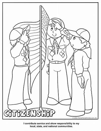 Coloring Cub Scout Citizenship Pages Printable Activity