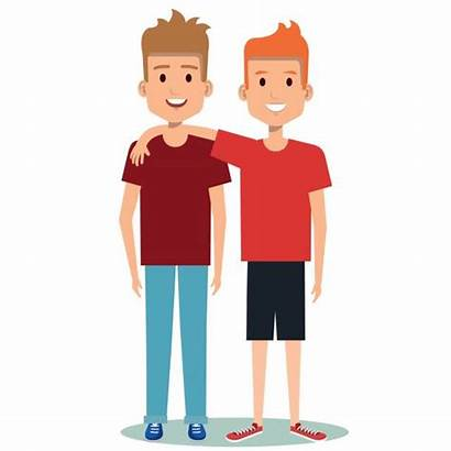 Brothers Clip Hugging Boys Illustrations Friends Happy