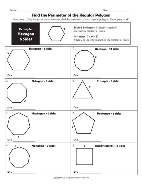 find the perimeter of the regular polygon worksheet for