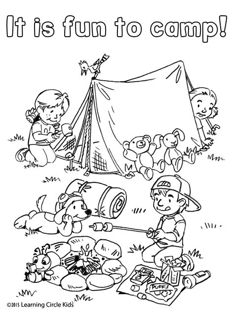 free coloring and reading page summer camping with 673 | 5d2b0e66edba1cbda115550f3079d8eb