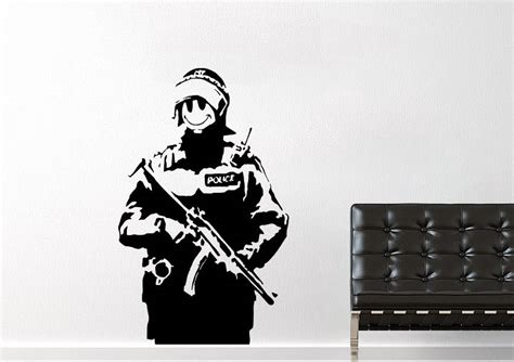 smiley police banksy wall stickers adhesive wall sticker