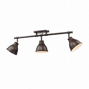 Duncan rubbed bronze three light track golden