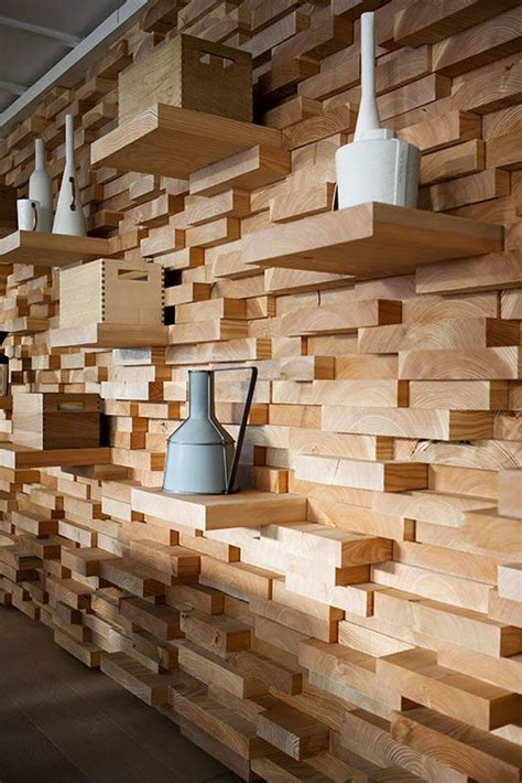 Decorating Ideas For Uneven Walls unique stacked wall of uneven pieces of wood with the