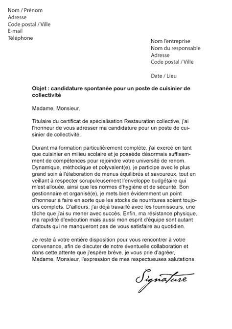 lettre de motivation chef de cuisine en restauration collective 9 lettre motivation cuisinier lettre administrative