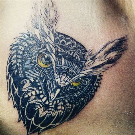 outstanding owl tattoos  chest