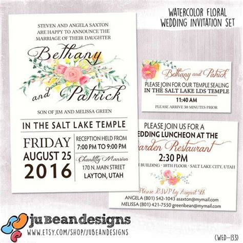 lds wedding invitation wording digital or printed watercolor floral wedding announcement set invitation lds sealing card