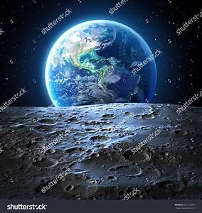 Blue Earth View From Moon Surface - Usa - Elements Are ...