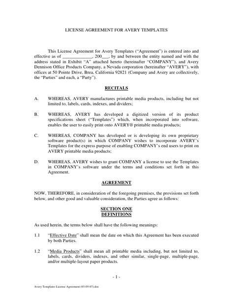 Photo License Agreement Template by License Agreement For Avery Templates