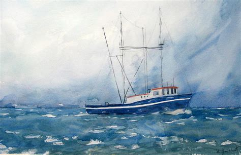 Images Of Boats At Sea by Shrimp Boat At Sea Painting By M Jan Wurst