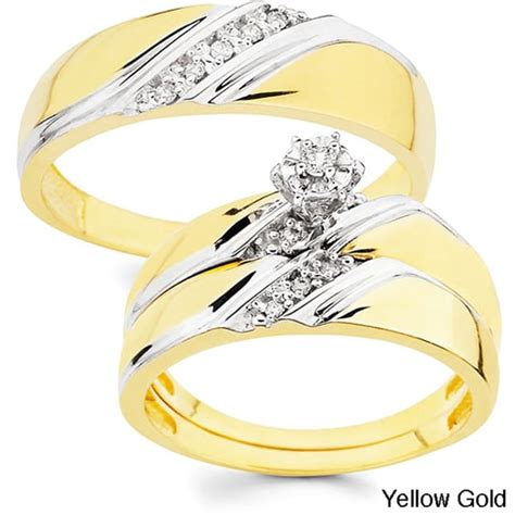 cusion cut ring 10k gold 1 10ct tdw his and wedding ring set h i i1