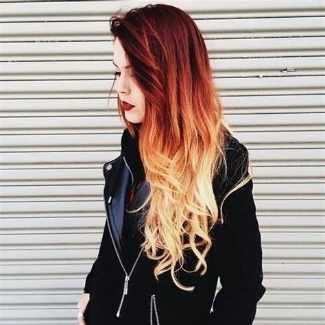 Beautiful Red To Blonde Ombre Hairstyle Hairstyles