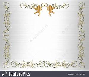 illustration of wedding invitation border gold hearts on With golden wedding invitation borders free download