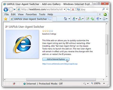 user agent explorer internet change string homepage ie switcher appears appropriate run window howtogeek
