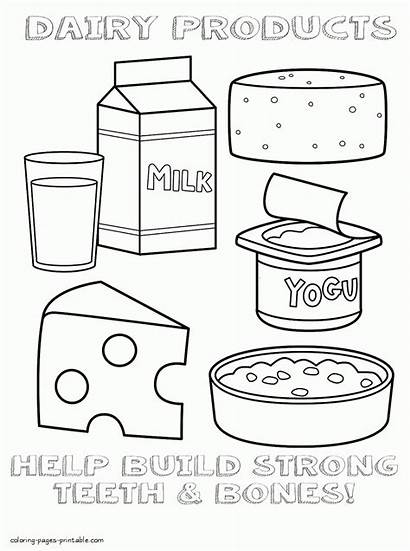 Coloring Pages Healthy Dairy Colouring Printable Eating