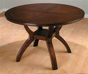 Modern Expandable Round Mahogany Dining Table With Storage