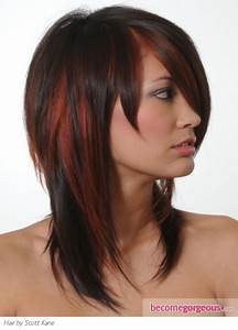 Stylish Brunette Hair with Red Highlights   hair styles ...