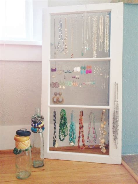 jewelry holder     pane window white paint