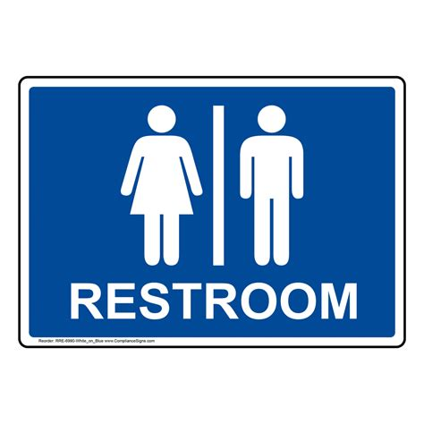 Bathroom Sign by Blue Restrooms Sign With Symbol Rre 6990 White On Blue