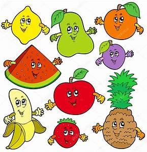 Various cartoon fruits Stock Vector © clairev #3208666