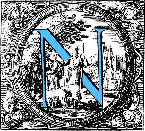 historiated decorative initial capital letter   blue