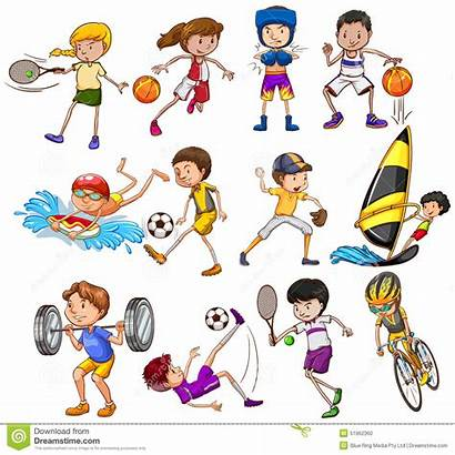 Different Sports Kinds Children Playing Tennis Cartoon