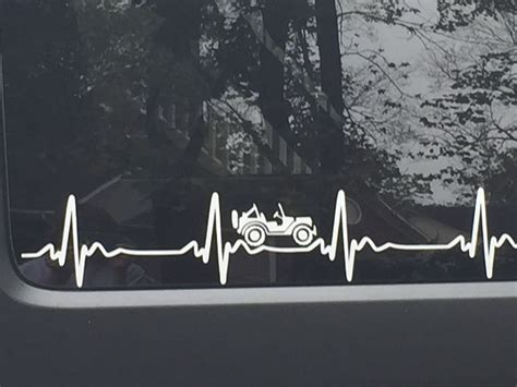 jeep heartbeat jeep wrangler heartbeat ekg pick color sticker decal heart