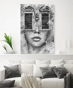 Tableau Deco Noir Et Blanc : tableau d co portrait femme fen tres noir et blanc tableau deco ~ Melissatoandfro.com Idées de Décoration