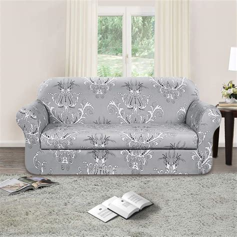 Grey Loveseat Cover by Tikami 2 Spandex Printed Fit Stretch Sofa Slipcovers