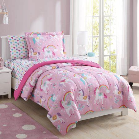 mainstays kids rainbow unicorn bed   bag complete