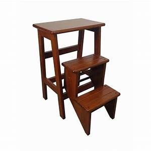 New, New, Antique, Oak, Folding, Step, Stool, Timber, Cafe, Bar, Retro, Kitchen, Stools, 61cm