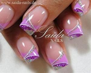 PURPLE GLITTER   Nails - French Tip Designs   Pinterest