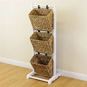 Sale 3 tier white hanging wicker basket storage stand for Wicker stands bathrooms